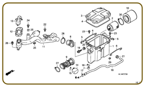 HONDA BIG RED - PARTS FICHE AIR CLEANER DIAGRAM